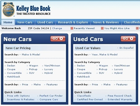 aol autos kelley blue book value used car prices blue book value