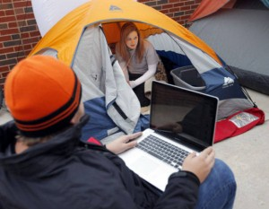 Students camping in Gundyville, ensuring a good spot in the line for Bedlam