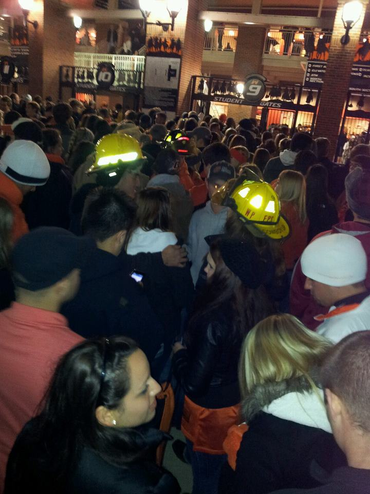 Students waiting to get into the game